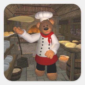 Panadero pequeño de la pizza de los osos en el pegatina cuadrada