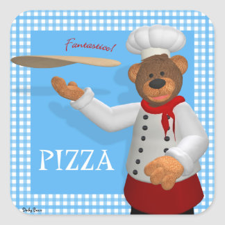 Panadero pequeño de la pizza de los osos pegatina cuadrada
