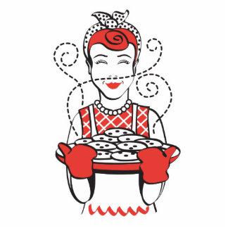 panadero retro del ama de casa llavero fotográfico