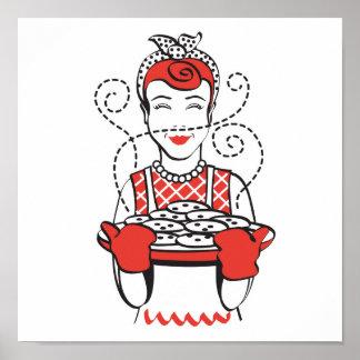 panadero retro del ama de casa poster