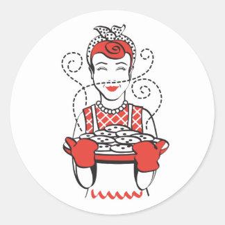 panadero retro del ama de casa pegatina redonda
