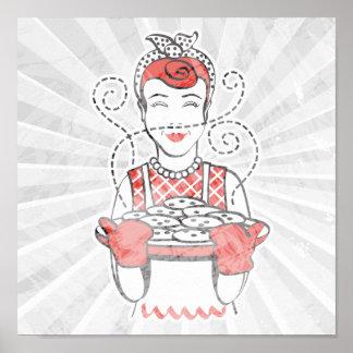 panadero retro del ama de casa póster