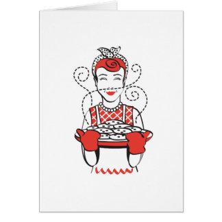 panadero retro del ama de casa tarjeta de felicitación