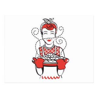 panadero retro del ama de casa tarjeta postal