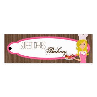 Panadero rubio en etiqueta rosada de la etiqueta c tarjetas de visita mini