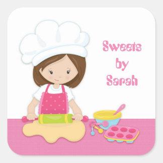 Panadero trigueno, gorra del cocinero, rosado pegatina cuadrada