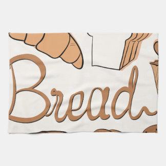Panadero y diversa clase de pan toallas de cocina