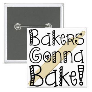 Panaderos que van a cocer el botón pins