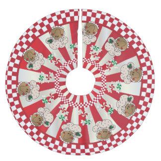 Panaderos retros del pan de jengibre del navidad falda para arbol de navidad de poliéster