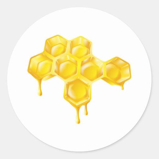 Panal con la miel del goteo etiquetas redondas