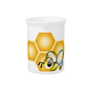 Panal con una abeja linda jarras