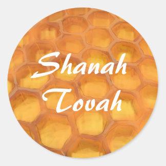Panal de Shanah Tovah que dibuja Rosh feliz Pegatina Redonda