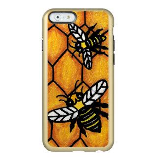 Panal de zumbido lindo de la abeja de la chaqueta funda para iPhone 6 plus incipio feather shine
