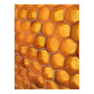 Panal dulce que dibuja marrón amarillo anaranjado postal