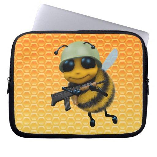 Panal lindo del soldado de la abeja 3d funda computadora