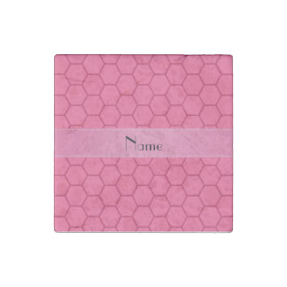 Panal rosado conocido personalizado imán de piedra