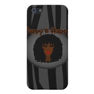 ¡Panal y feliz! Con la mujer negra hermosa iPhone 5 Cárcasas