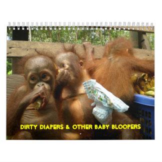 Pañales sucios y Bloopers del mono del bebé Calendario De Pared
