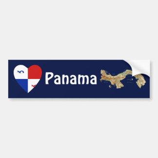Panama Banner Heart + Map Bumper Sticker Car Bumper Sticker
