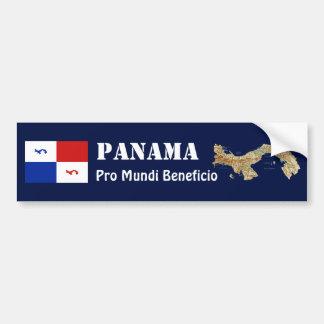 Panama Banner + Map Bumper Sticker Car Bumper Sticker
