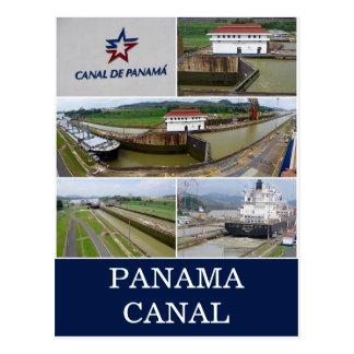 panama canal locks postcard