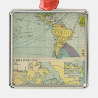 Panama Canal Square Metal Christmas Ornament