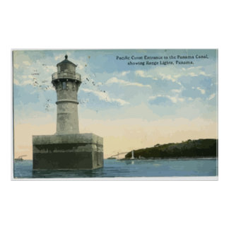 Panama Canal Showing Range Lights, Panama, Vintage Poster