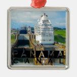 Panama Canal Souvenir Square Metal Christmas Ornament