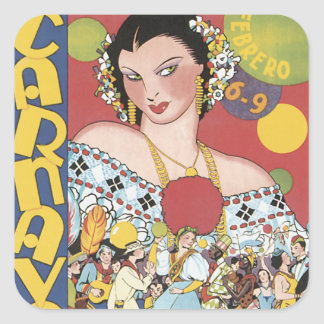 Panama Carnaval 1937 Square Sticker