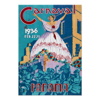 Panama Carnival Vintage Travel Poster Restored