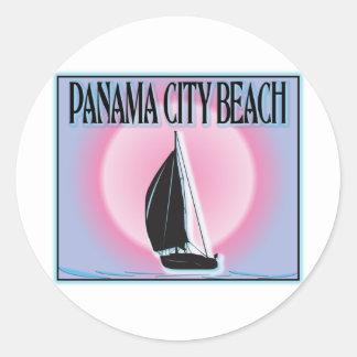 Panama City Beach Airbrushed Look Boat Sunset Classic Round Sticker