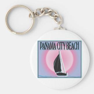 Panama City Beach Airbrushed Look Boat Sunset Keychain