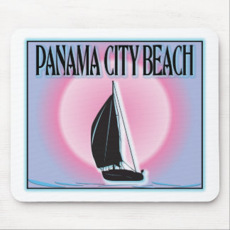 Panama City Beach Airbrushed Look Boat Sunset Mouse Pad