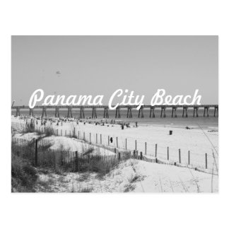 Panama City Beach, FL Pier & Beach Black & White Postcard