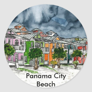 Panama City Beach Florida tropical art gifts Round Sticker
