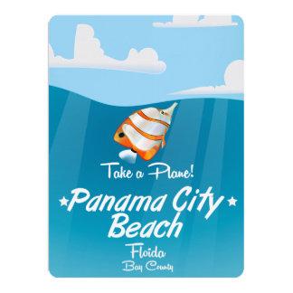 Panama City Beach Florida vintage travel poster. Card