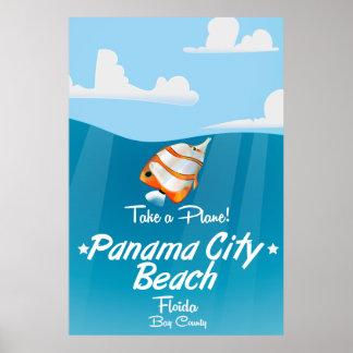 Panama City Beach Florida vintage travel poster. Poster