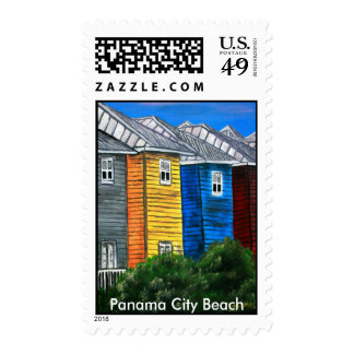 Panama City Beach oil painting tropical houses FL Stamp