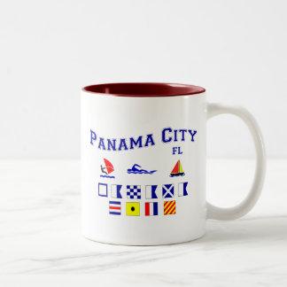 Panama City, FL - Maritime Spelling Two-Tone Coffee Mug