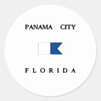 Panama City Florida Alpha Dive Flag Round Stickers