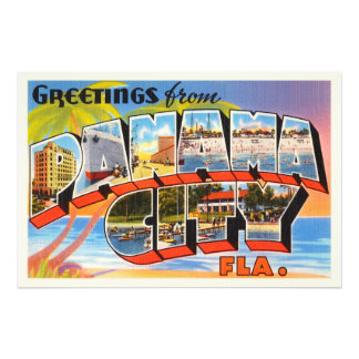 Panama City Florida FL Old Vintage Travel Souvenir Photo Print