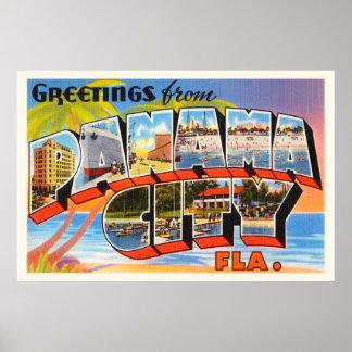 Panama City Florida FL Old Vintage Travel Souvenir Poster