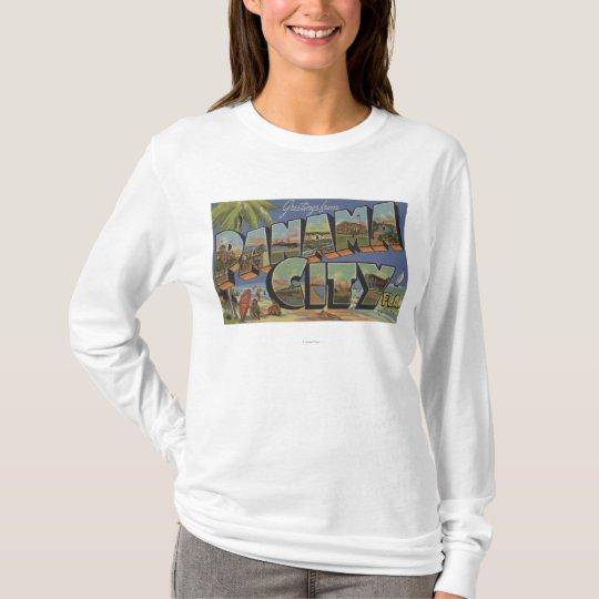Panama City, Florida - Large Letter Scenes T-Shirt