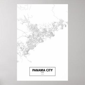 Panama City, Panama (black on white) Poster