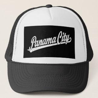 Panama City script logo in white distressed Trucker Hat