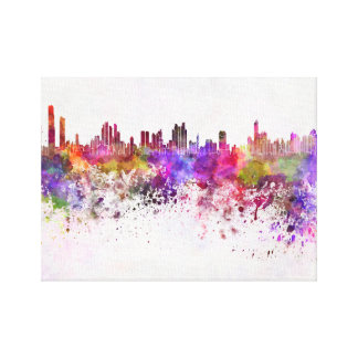Panama City skyline in watercolor background Stretched Canvas Print