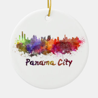 Panama City skyline in watercolor Ceramic Ornament