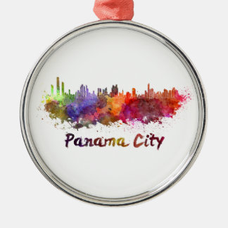 Panama City skyline in watercolor Metal Ornament