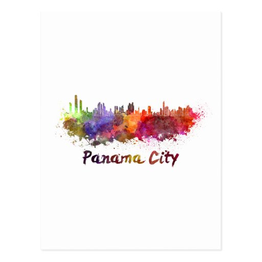 Panama City skyline in watercolor Post Cards