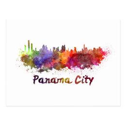 Panama City skyline in watercolor Postcard